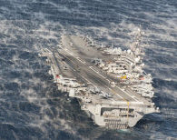 The U.S. Navy aircraft carrier USS George H.W. Bush (CVN-77), with assigned Carrier Air Wing 8 (CVW-8), underway in the Atlantic Ocean while conducting a Composite Training Unit Exercise (COMPTUEX). COMPTUEX is a scenario-driven exercise aimed at integrating the ships of the carrier strike group through a series of live training events.