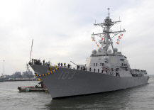 NORFOLK (Dec.10, 2011) The guided-missile destroyer USS Truxtun (DDG 103) returns to Naval Station Norfolk after a seven-month deployment to the Arabian and Mediterranean Seas as part of the George H.W. Bush Carrier Strike Group. (U.S. Navy photo by Mass Communication Specialist Seaman Samantha Thorpe