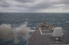 The forward Mark 45 5-inch gun aboard the guided missile destroyer USS Truxtun (DDG 103) fires during a live-fire exercise in the Atlantic Ocean Dec. 15, 2013. The Truxtun was part of the George H.W. Bush Carrier Strike Group and was underway participating in a final evaluation problem in preparation for a scheduled deployment.